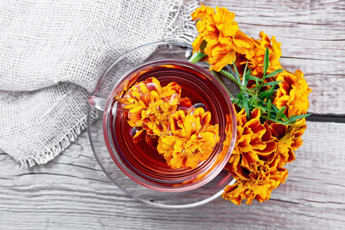 marigold flower soaked in a bowl of water with a cloth fabric beside
