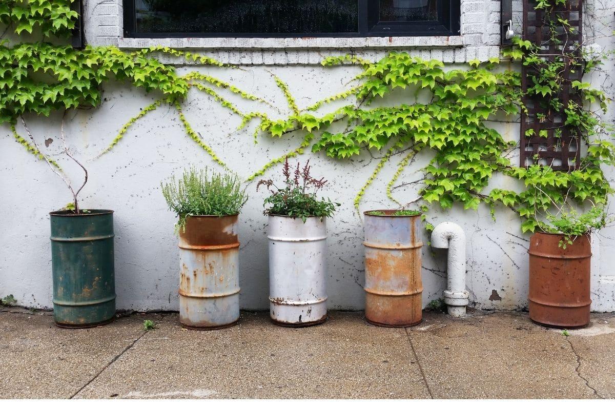 repurposed barrel into a flower pot
