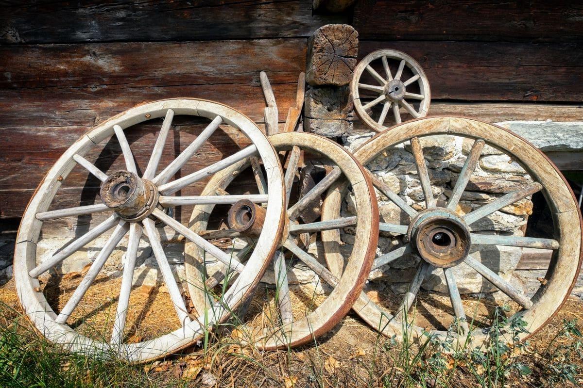 an old rustic wagon wheels