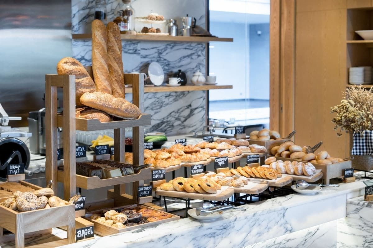 bakery with fresh baked bread, cakes and pastries