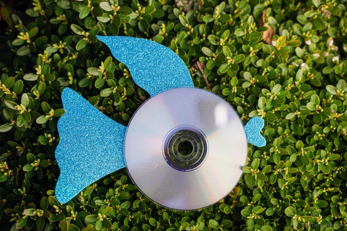 Blue CD fish on grass