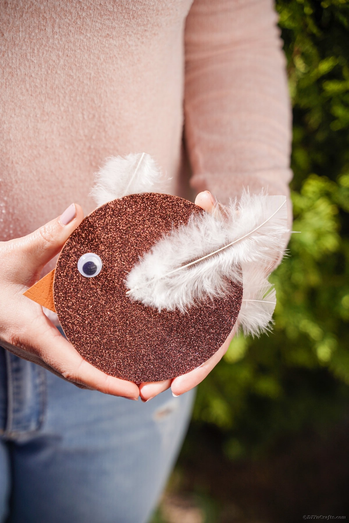 Woman holding brown old CD bird