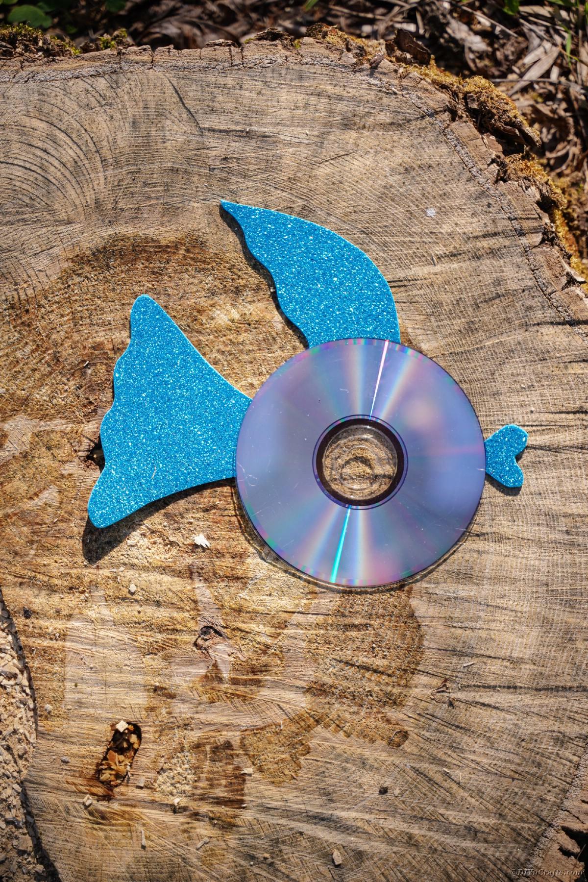 Blue fin CD fish on wood slice