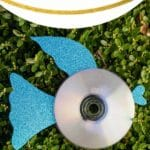 CD fish with blue fins on grass