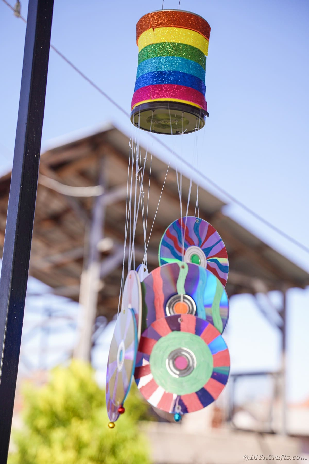 Rainbow CD wind chime hanging outside