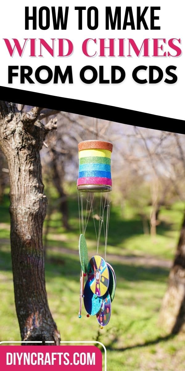Pinterest image with wind chime and pink text