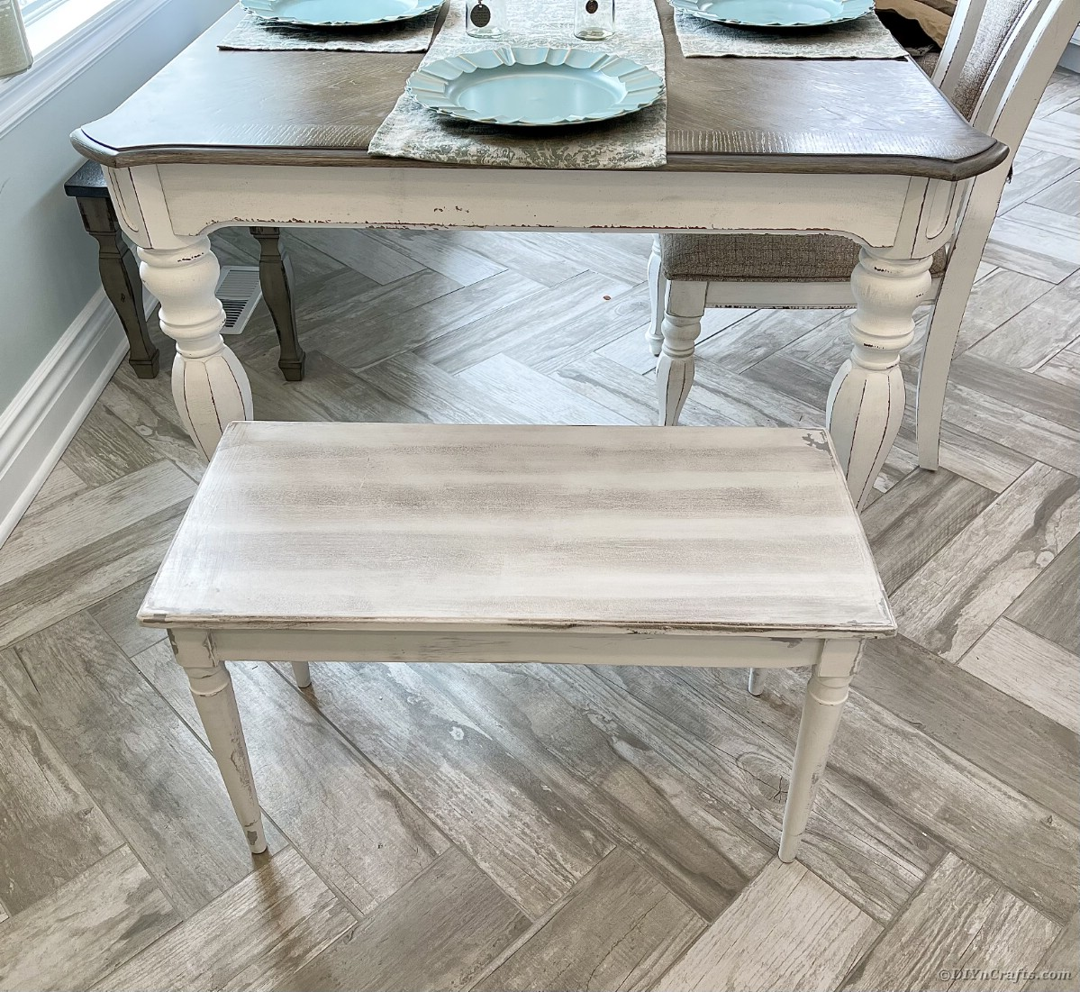 Distressed dining table and bench