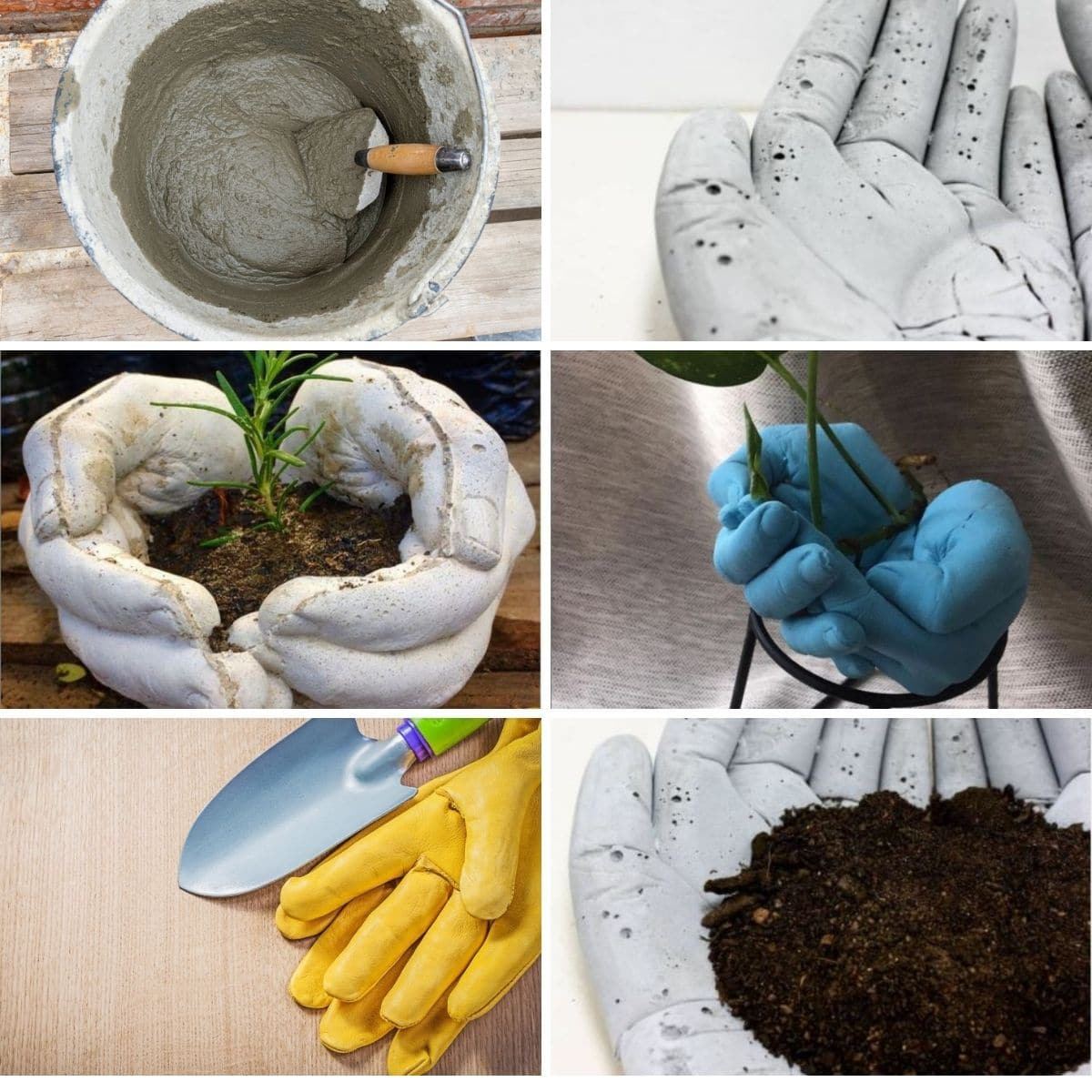 Steps showing how to make a concrete hand planter.