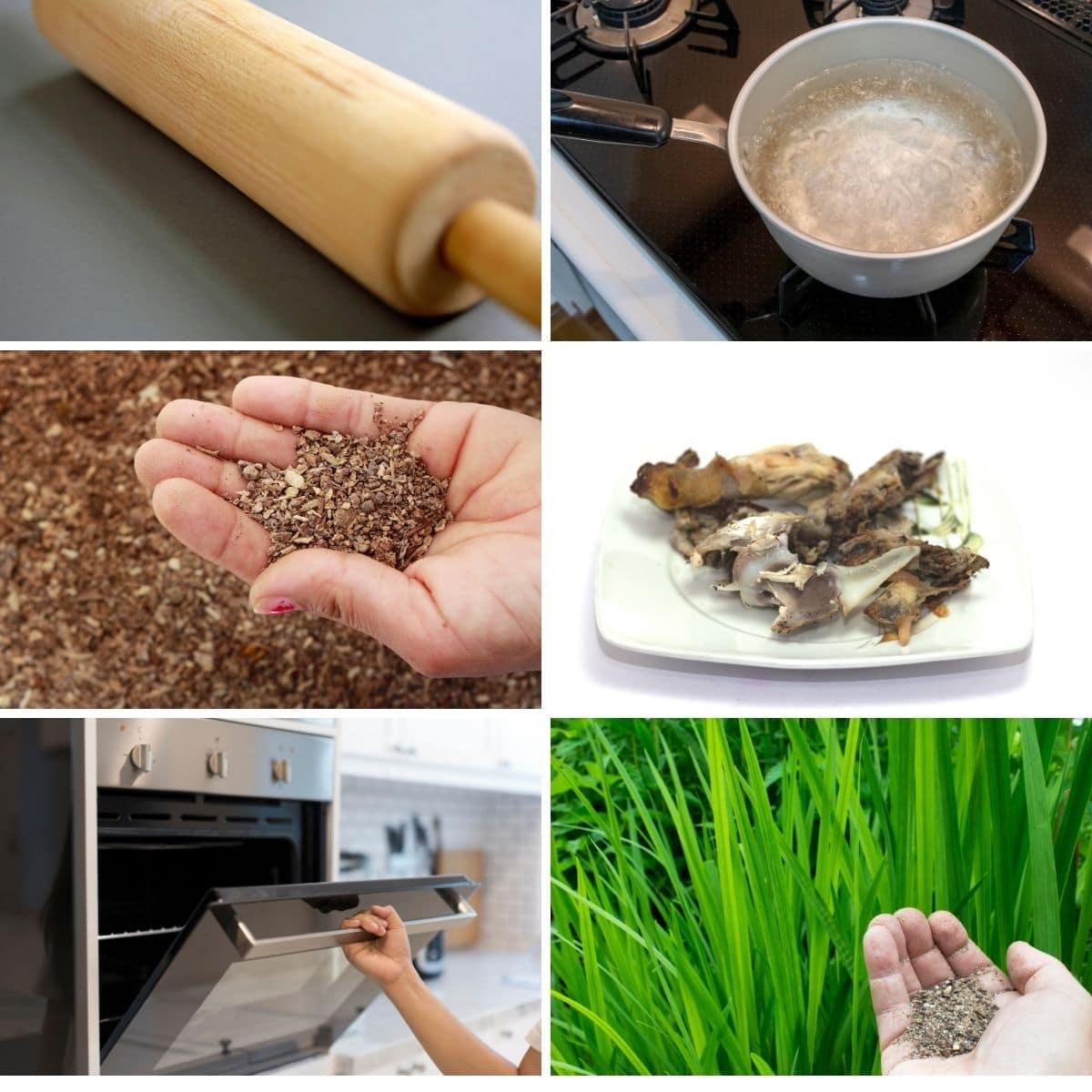 Images demonstrating steps to make bone meal fertilizer.