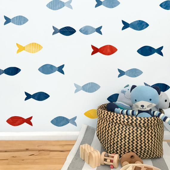 School of Fish Fabric Wall Decal Sag Harbor Mej Mej   Etsy