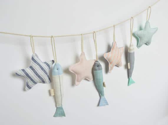 Pastel Fabric Stars and Fish Baby Shower Garland Coastal   Etsy