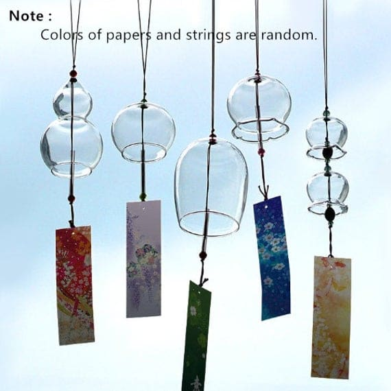 2 pieces JAPANESE Traditional Glass Furin wind Bell wind Chime | Etsy