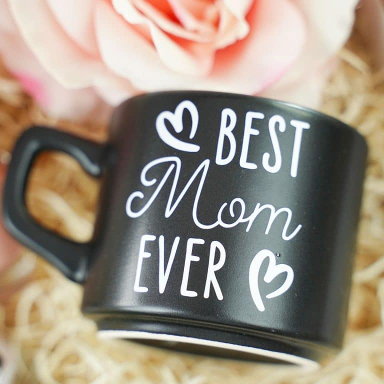 Black best mom ever mug in box with flower