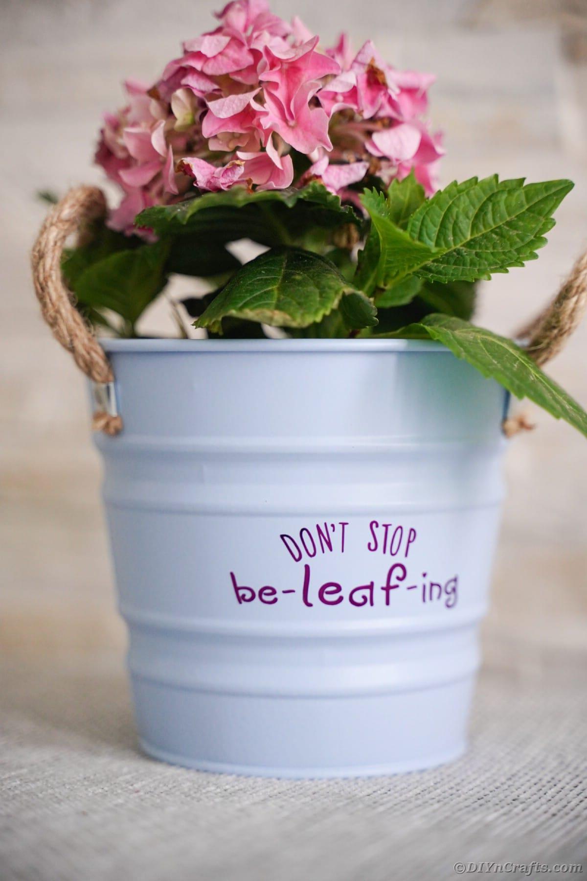 Light blue flower pot with purple message