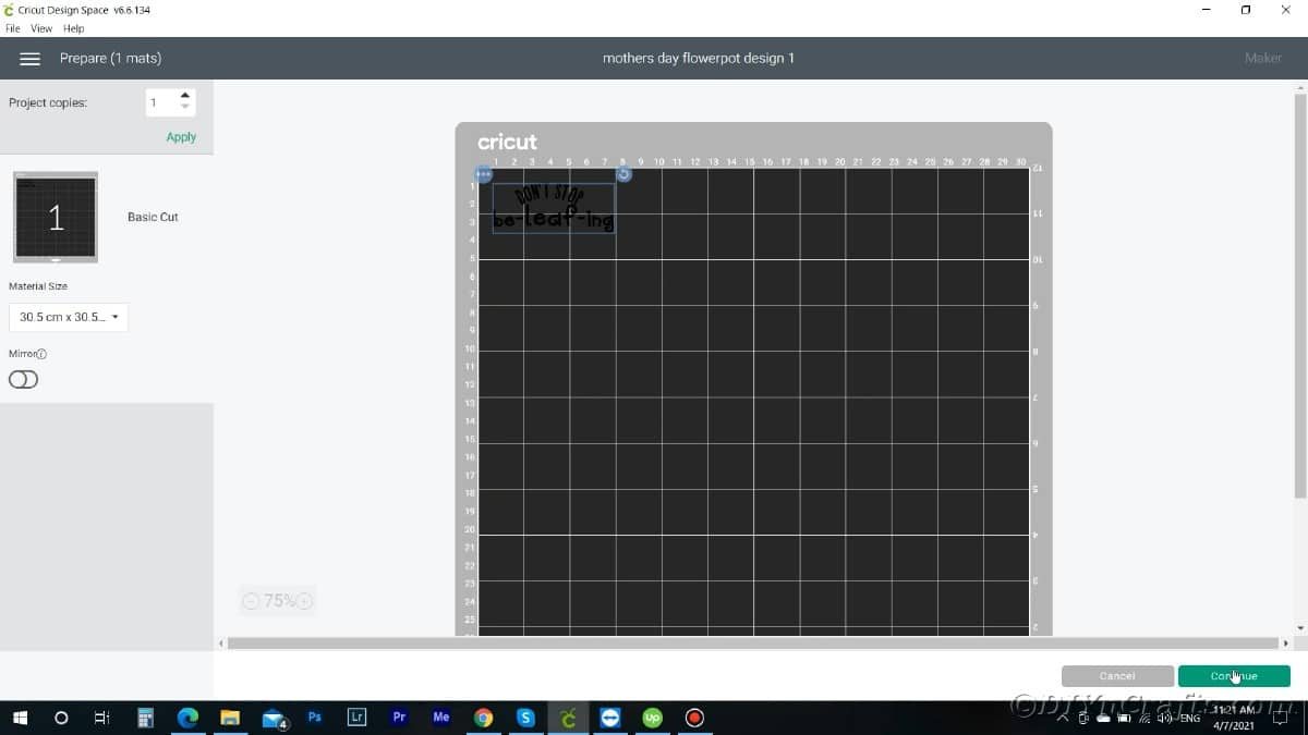 Screenshot of message on mat in design space