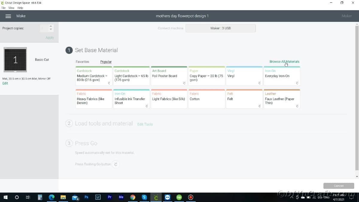Screenshot of Cricut Design Space matrial options