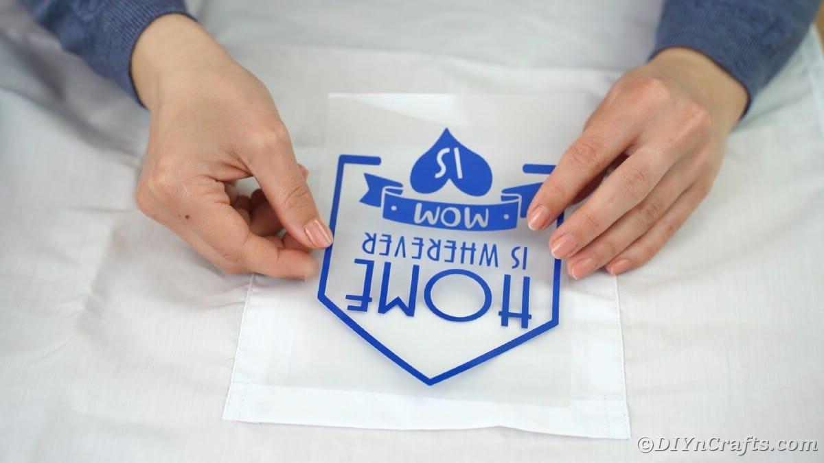 Placing vinyl onto apron