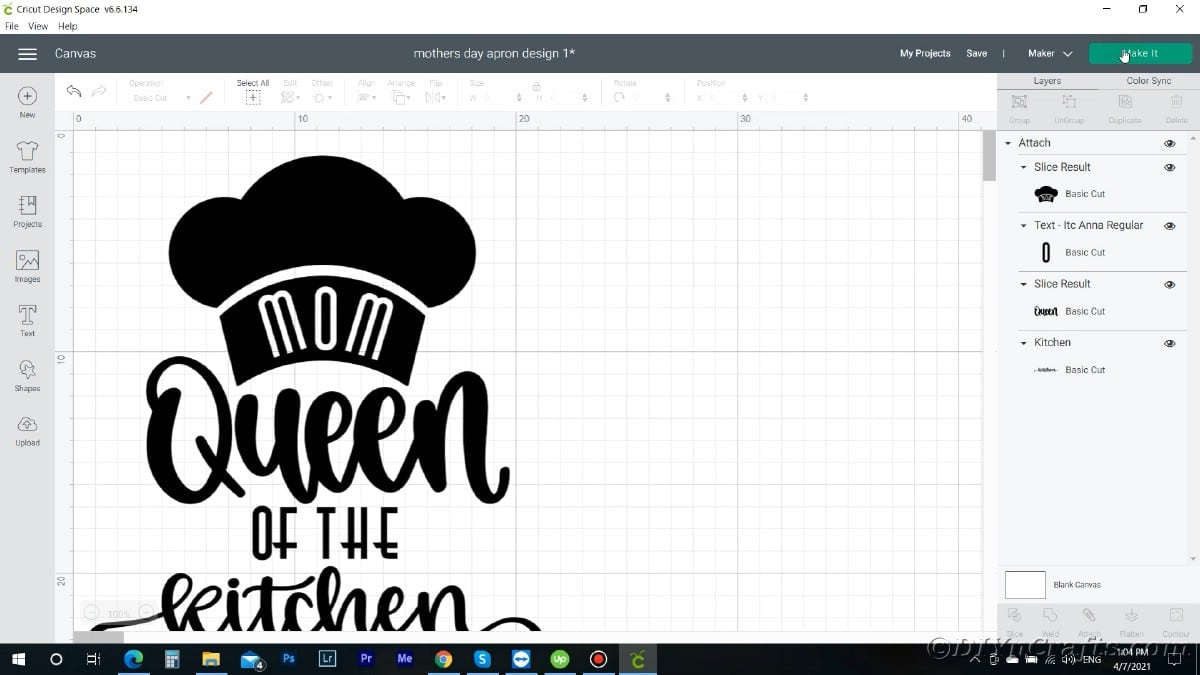 Screenshot of design in cricut design space