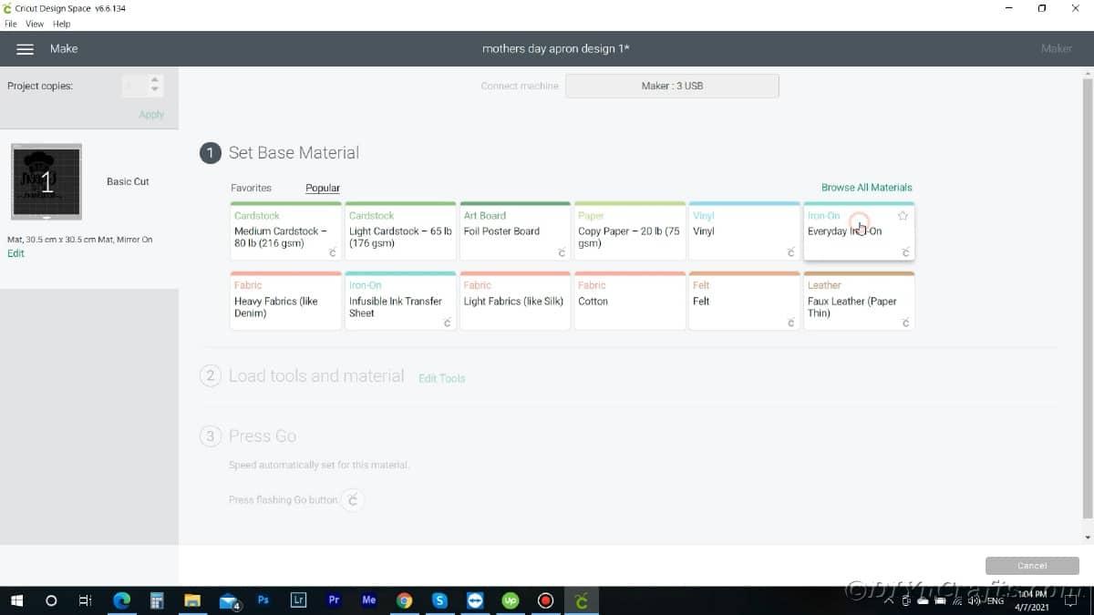 Screenshot of choosing material in design space