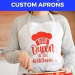 Blue banner over image says easy diy cricut mother's day custom aprons
