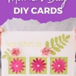 Mother's day card being held with purple banner that says easy cricut mothers day diy cards