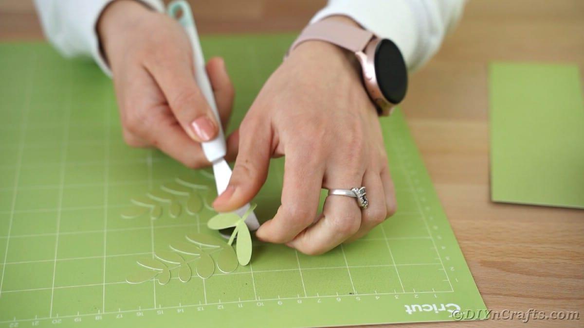 Peeling green flowers from cricut mat