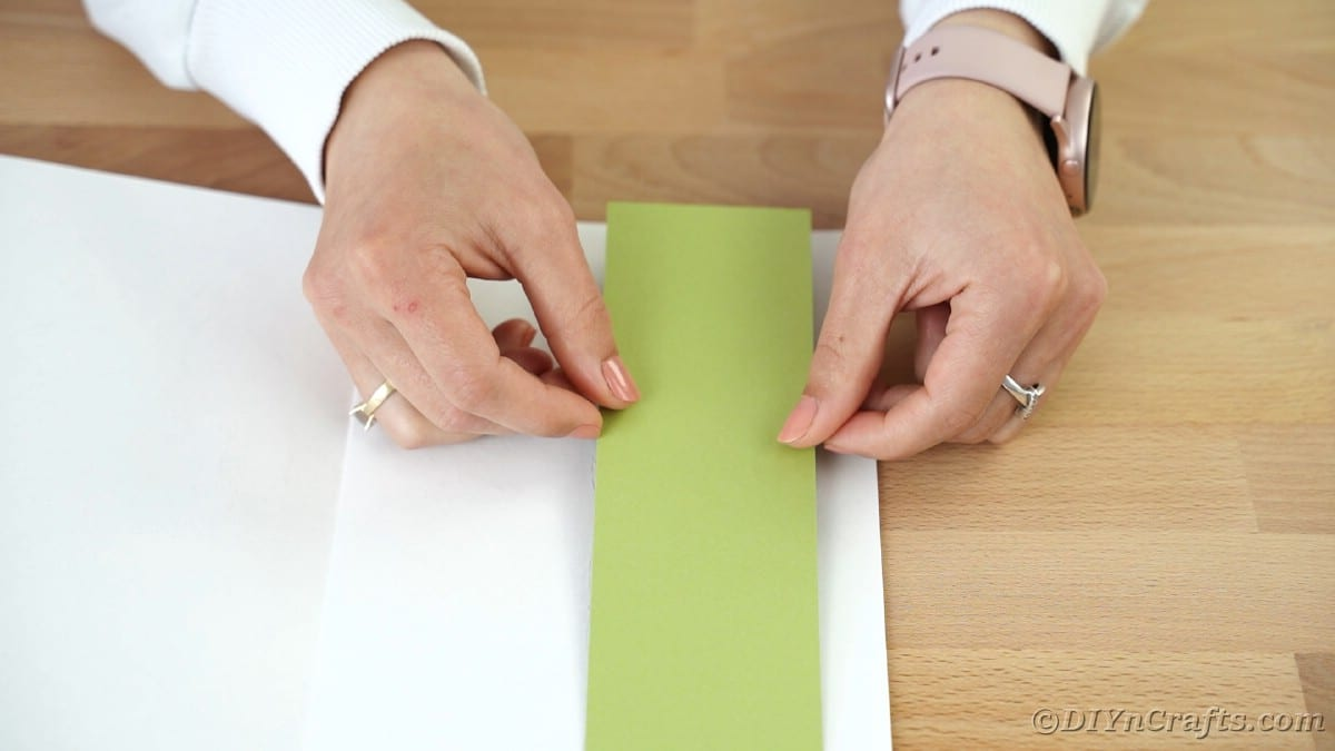 Gluing green rectangle to white card