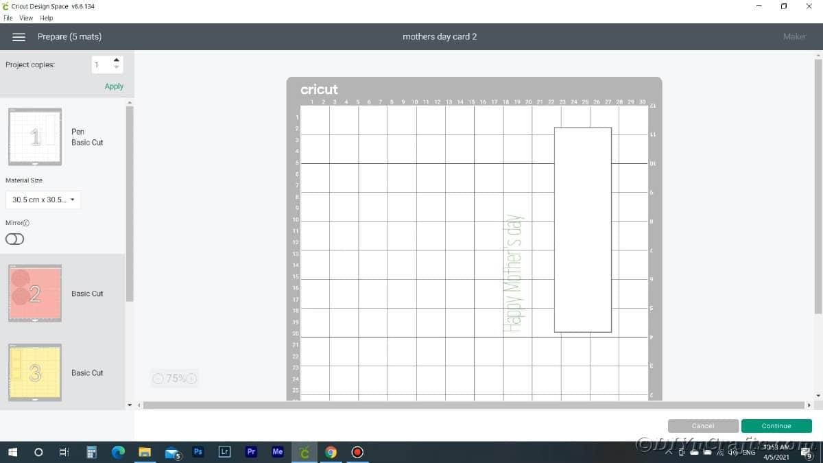 Screenshot of design on grid in Cricut Design Space