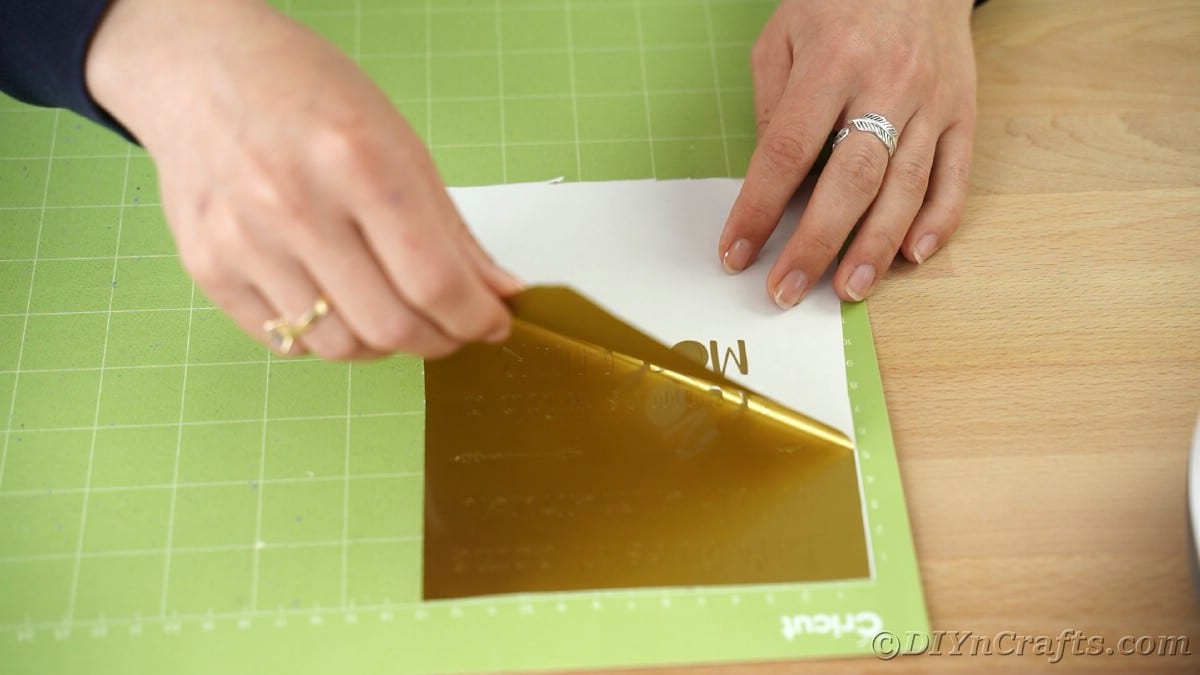 Removing excess gold vinyl from Cricut mat