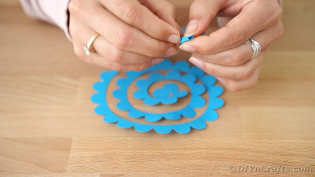 Paper flower being rolled