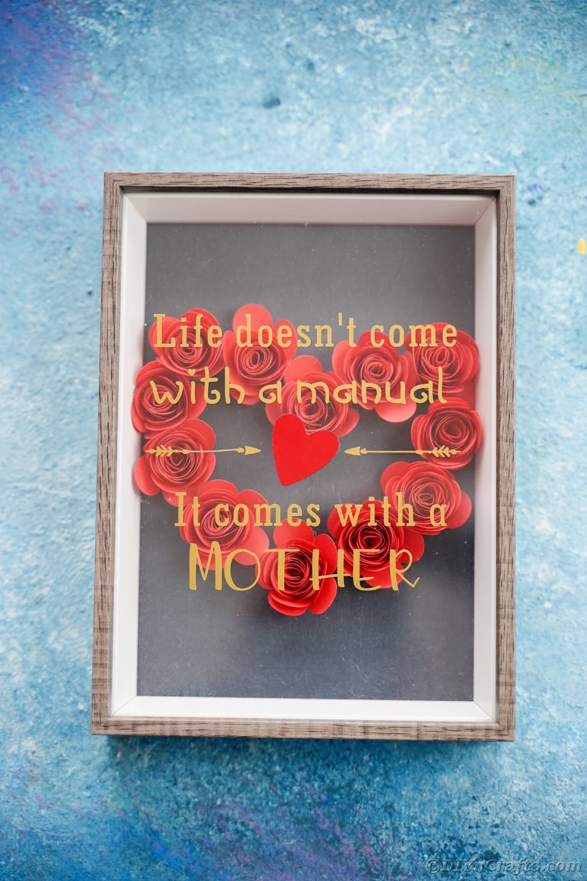 Black mother's day shadowbox on blue background