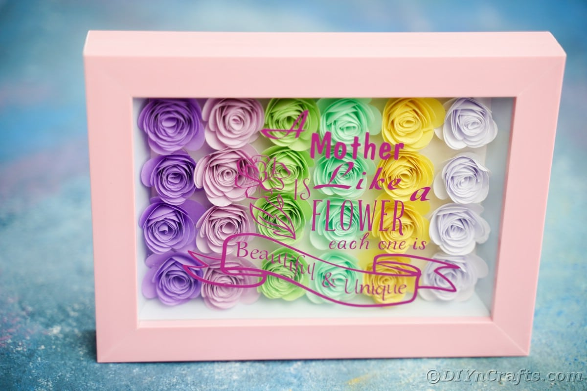 Shadowbox with mothers day message on blue surface
