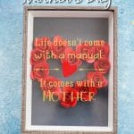 Black shadowbox with red flower heart and gold message