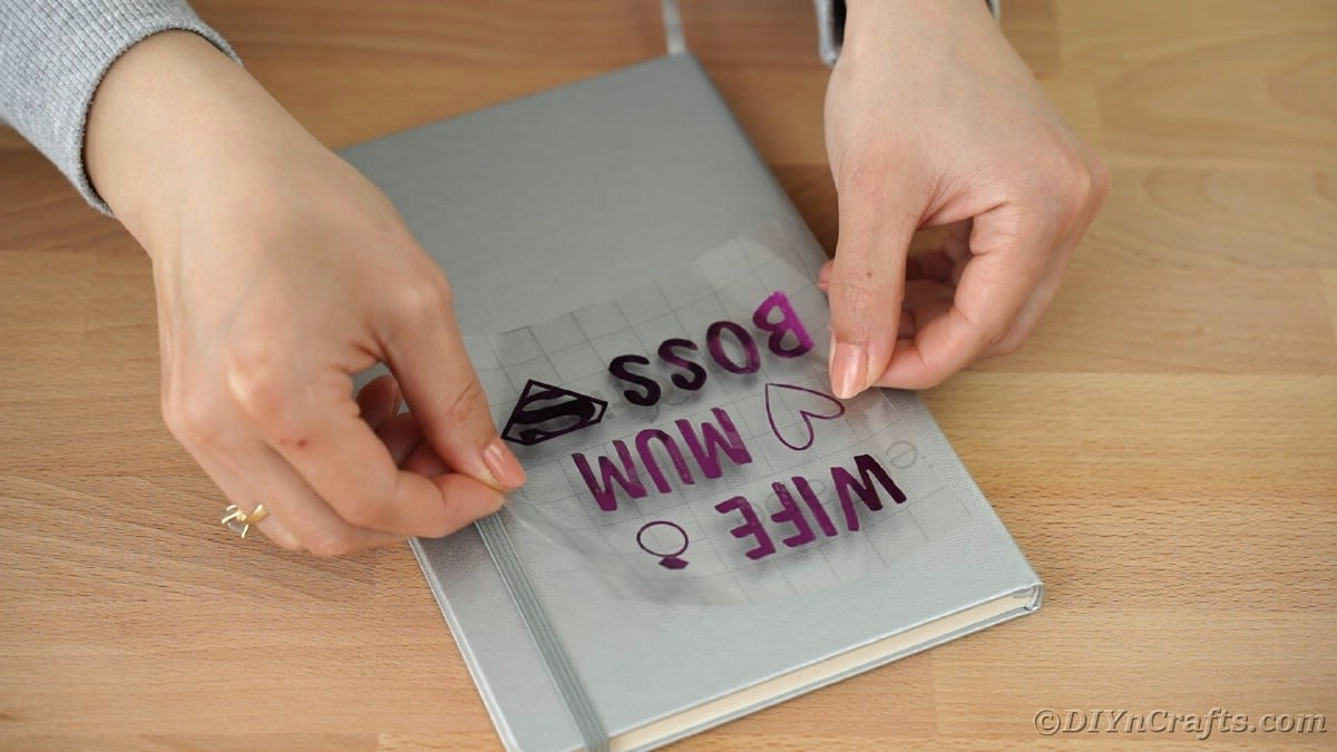 Placing vinyl on top of gray journal