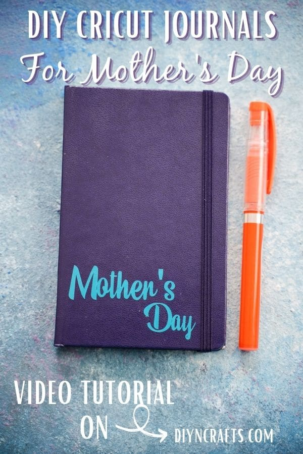 Blue journal with light blue mother's day printed on bottom by orange marker