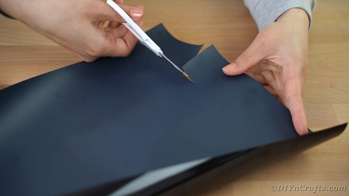 Cutting letters off black vinyl