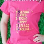 Woman with pink shirt and banner on top that says DIy cricut tshirts