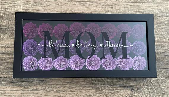 Mom Shadowbox with Custom Names. 6 x 14 inches | Etsy