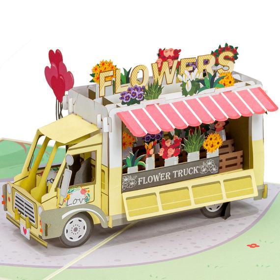 Paper Love Flower Truck Premium Pop Up Card Handmade 3D Popup | Etsy