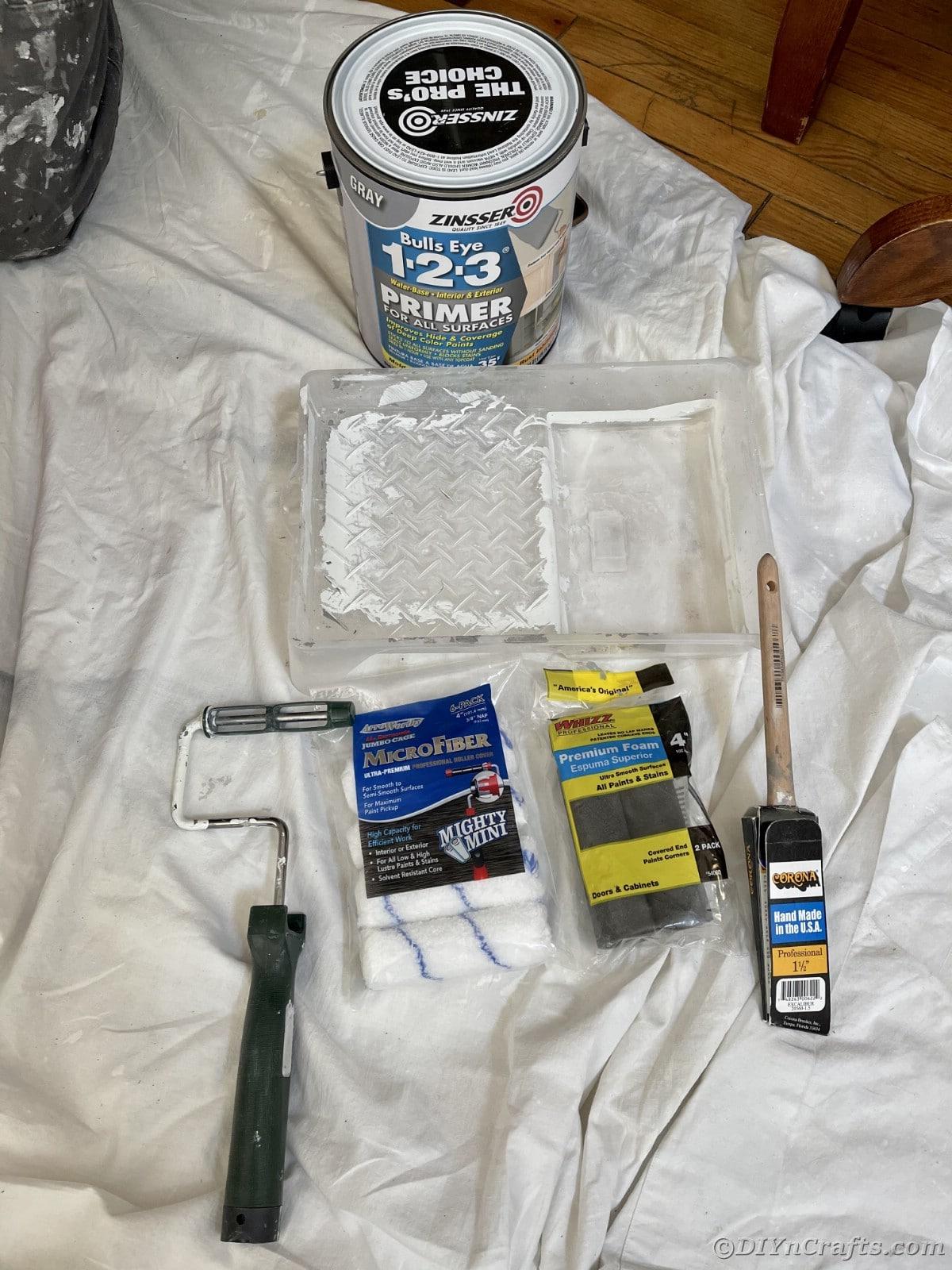 Supplies on drop cloth