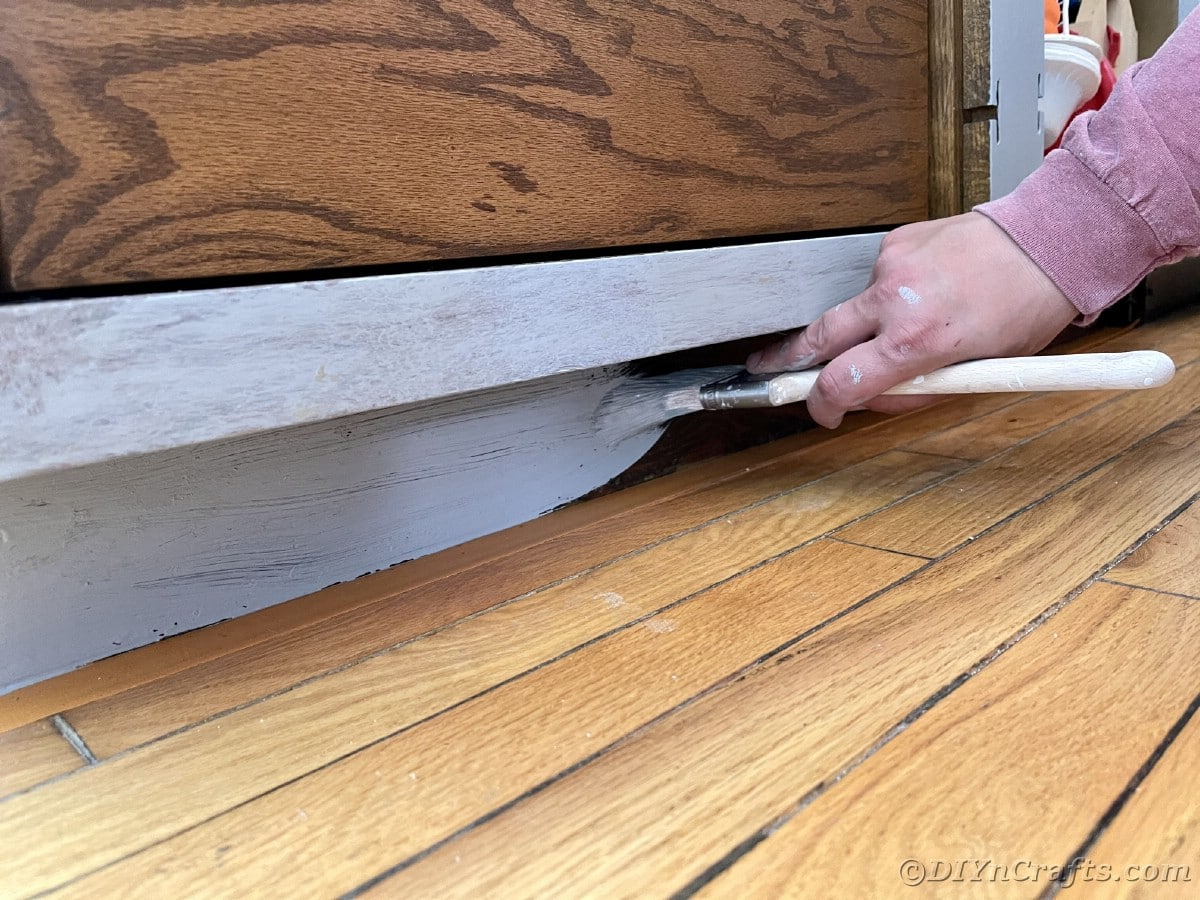 Painting floorboards