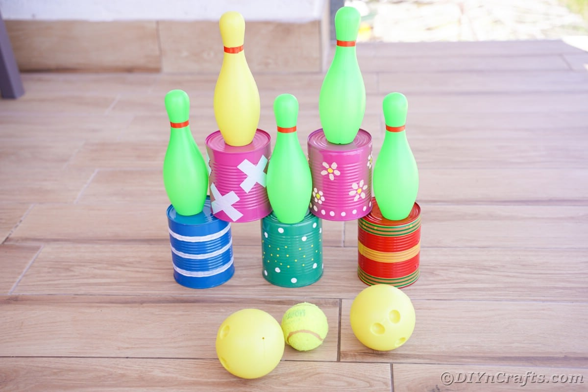 Bowling cans setup on wood floor