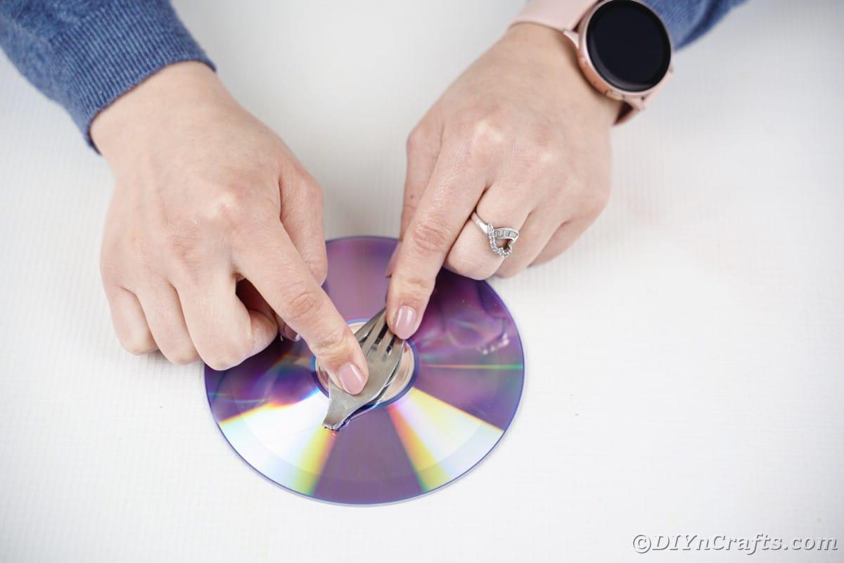Gluing fork onto CD