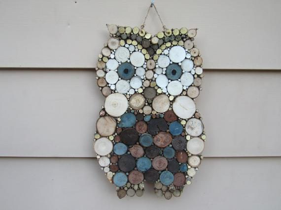 Outdoor Safe Large Handmade Wooden Mosaic Owl Wall Art with a | Etsy