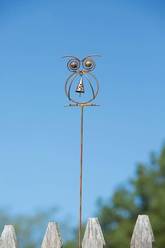 Owl with Bell Garden Stake Owl Lover Gift Garden Decoration | Etsy