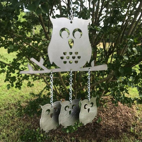 Owl Wind Chime Metal Owl Decor Metal Owl chime | Etsy