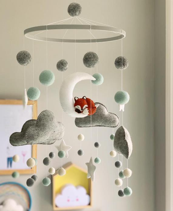 The Fox and the Moon Mobile Nursery Decoration Kids Room   Etsy