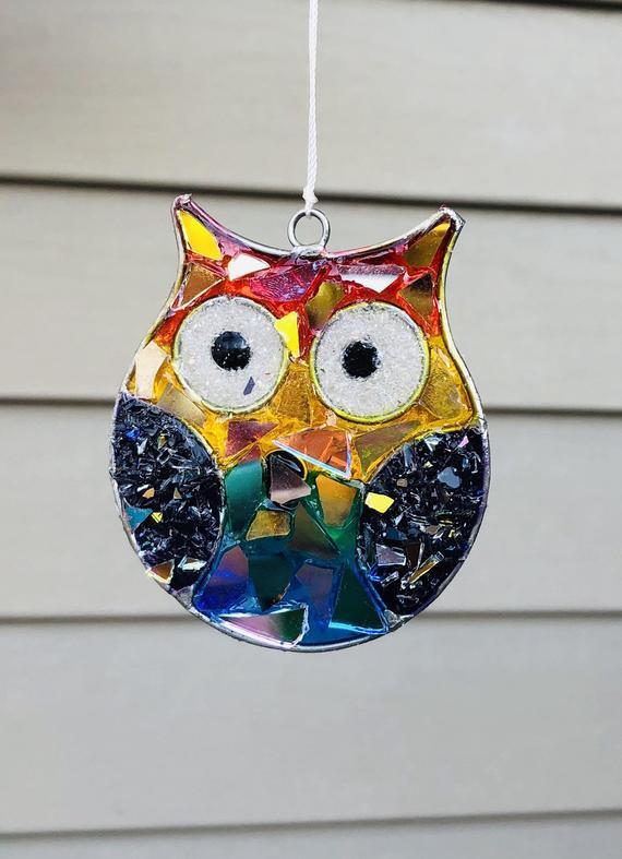Owl.. owl SunCatcher.. blingthingzbylori.. garden art .. | Etsy