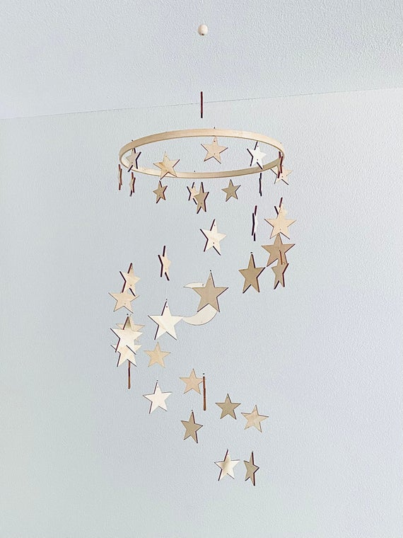 Stars Baby Mobile Stars and Moon Mobile Nursery Moon Baby   Etsy