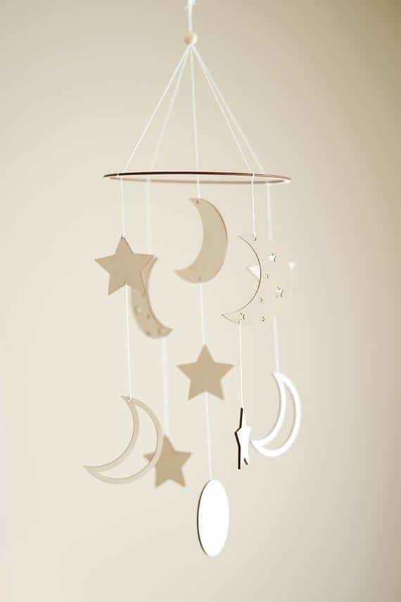 Stars and Moon Mobile Baby Nursery Decor Wood Space Mobile   Etsy